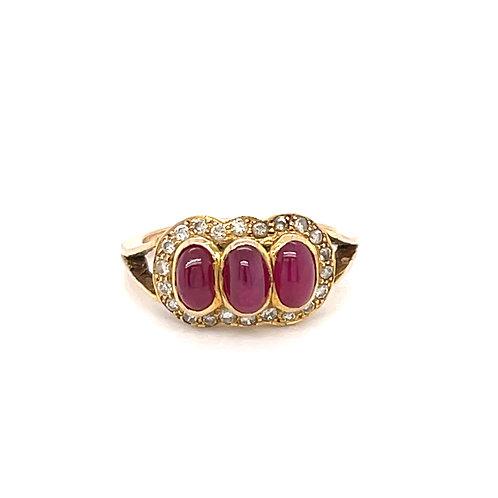 Cabochon Ruby & Diamond Ring 18ct Yellow Gold