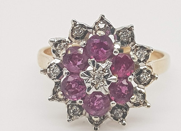 Ruby & Diamond Cluster Ring 9ct Gold