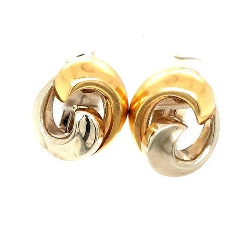 Fancy Bi Metal Clip On Earrings 18ct Gold