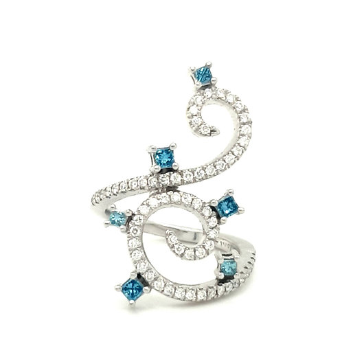 Blue and White Diamond Statement Ring 18ct Gold