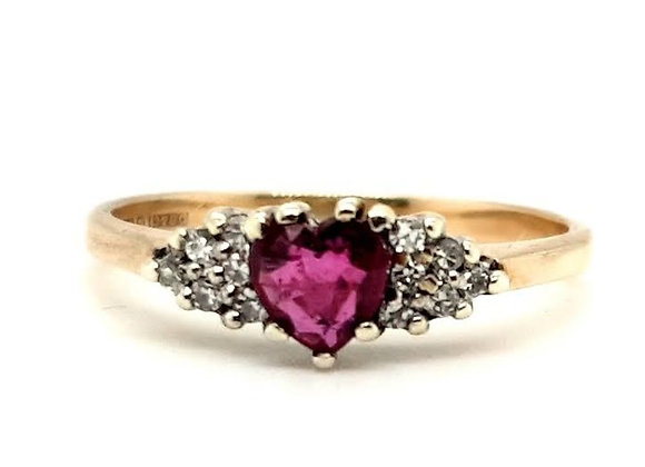 Heart Shaped Ruby & Diamond Ring in Yellow Gold
