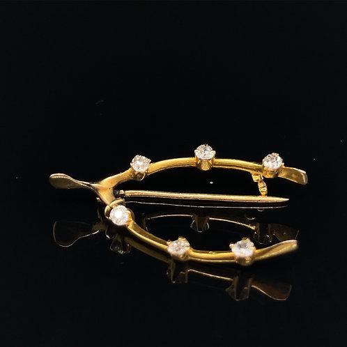 Lucky Wishbone Diamond Brooch 18ct Gold