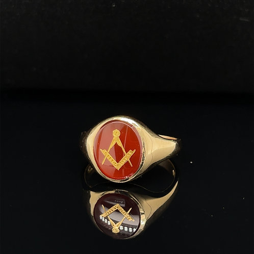 Carnelian Masonic 9ct Ring
