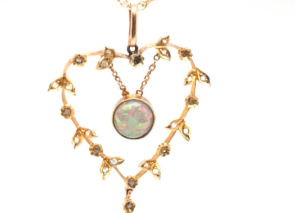 Vintage Opal and Diamond Lavalier  Necklace 9ct Gold