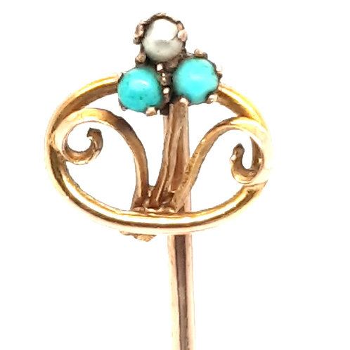 Turquoise and Peral Forget Me Not Stick Pin 9ct Gold