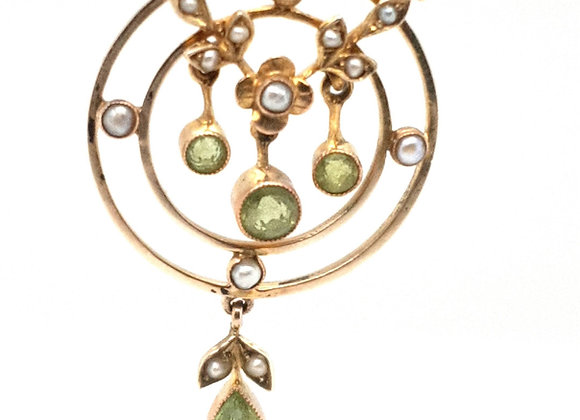 Peridot and Pearl Lavalier Necklace