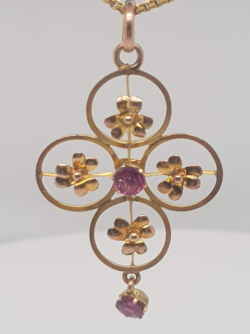 Amethyst Edwardian Pendant 9ct Gold