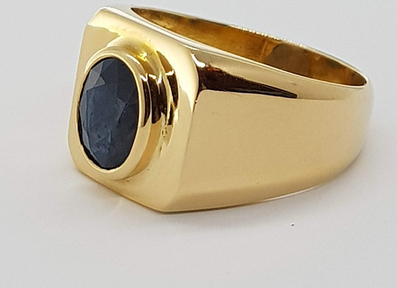 OVAL SAPPHIRE 18CT YELLOW GOLD RING UK SIZE T 1/2 US 10