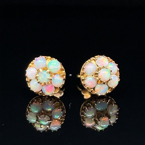 Vintage Opal Cluster Earrings 18ct Yellow Gold