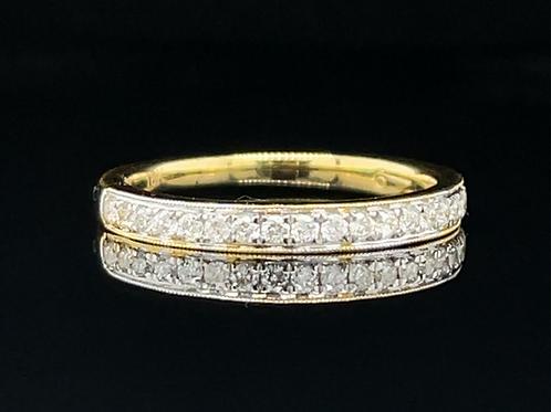 Diamond Milgrain  Set Ring 18ct Yellow Gold