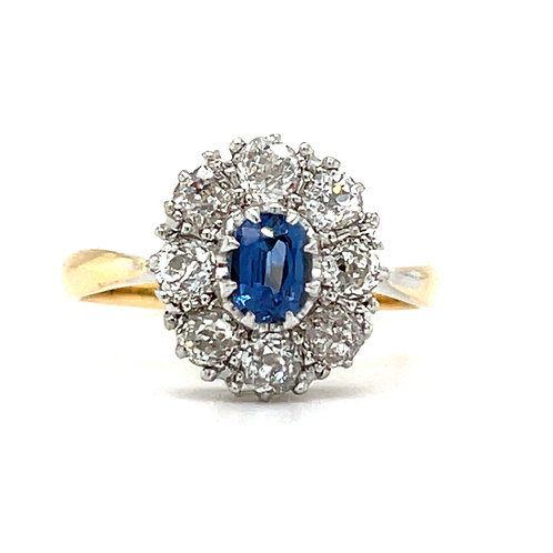 Edwardian Sapphire & Diamond Cluster Ring18ct / Plat