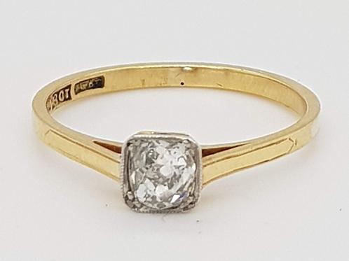 Old Cushion Cut Diamond Ring in 18ct / Plat