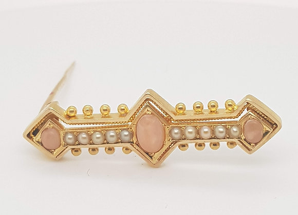 Coral & Pearl Brooch 18ct Gold