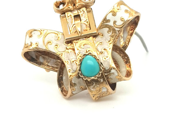 Rare White Enamel  Turquoise Mourning Brooch 18ct Gold
