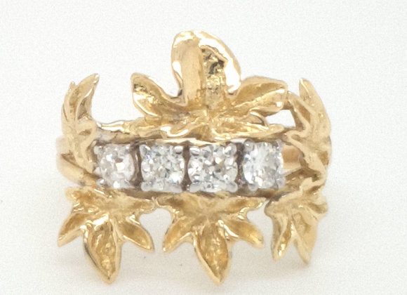 Floral Diamond 18ct Yellow Gold Ring