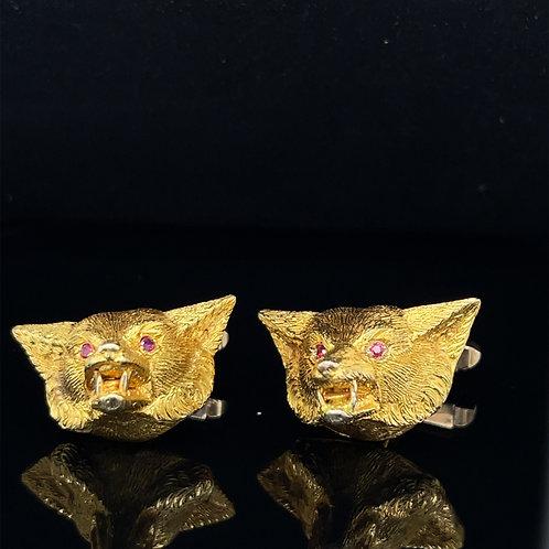 Large & Impressive Fox Mask Cufflinks 9ct Yellow Gold