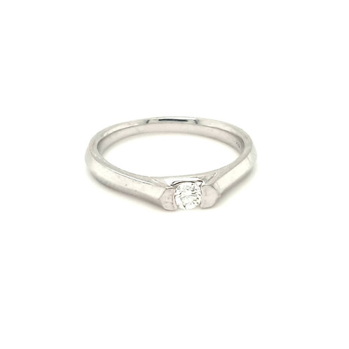 Tension Set Diamond Solitaire Ring 18ct Gold