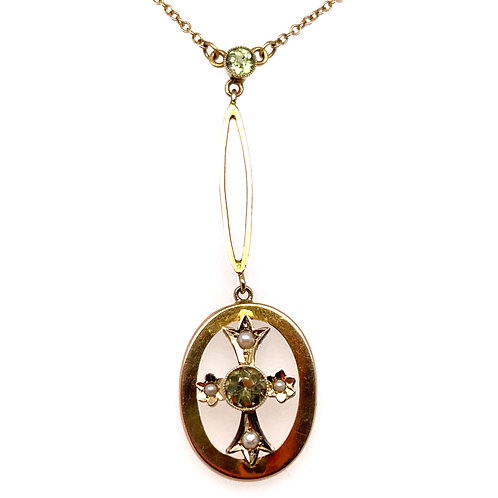 Peridot and Pearl Edwardian Necklace 9ct Yellow Gold