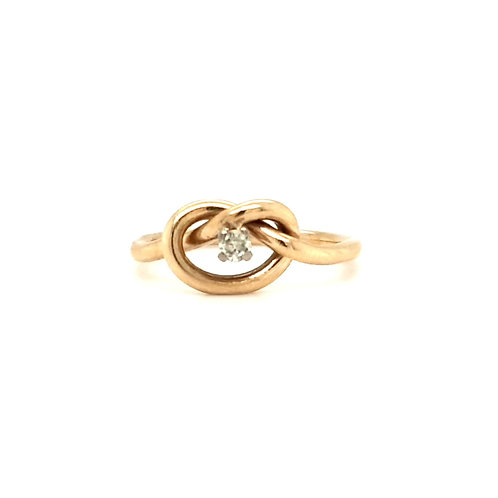 Diamond Lovers Knot Ring 9ct Gold