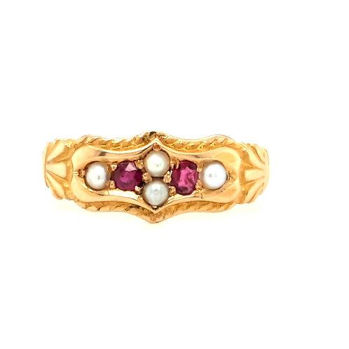 Antique Ruby & Diamond Ring 18ct Gold