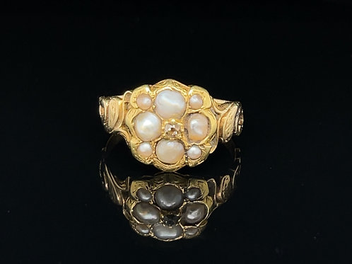 Diamond and Pearl Memorial Ring 15ct Gold