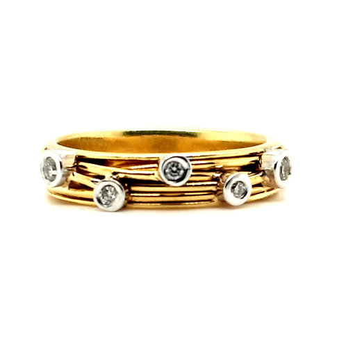 Modernist Diamond Ring 18ct Gold