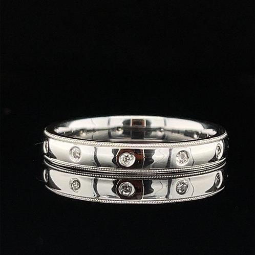 Roman Set Diamond Ring 18ct White Gold