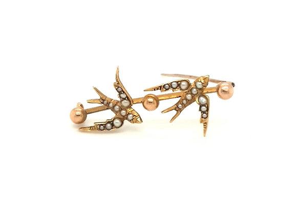 Antique Swallow 15ct Brooch
