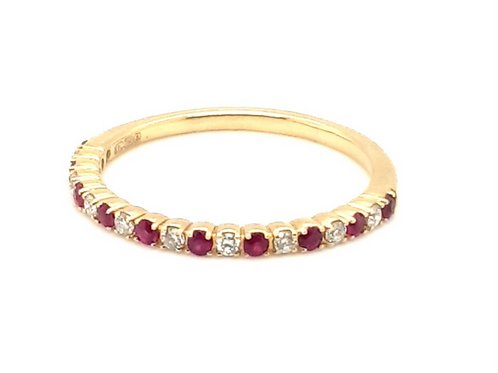 Ruby and Diamond Ring 18ct Yellow Gold