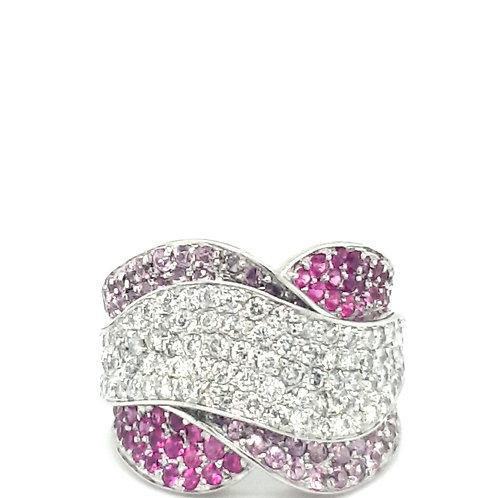 Sapphire and Diamond Statement Ring 14ct Gold