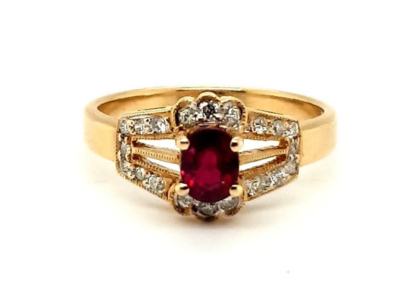 18ct Yellow Gold Oval Ruby and Diamond Ring