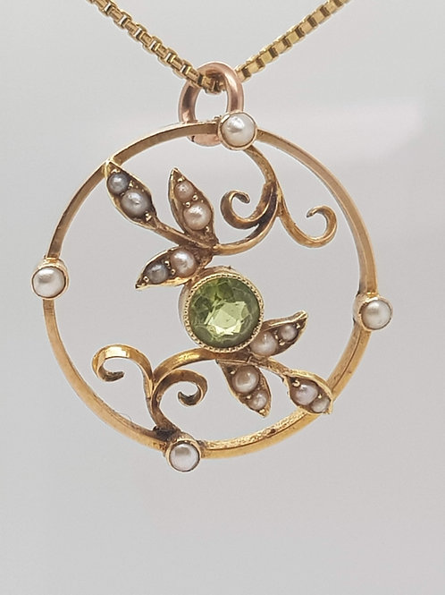 Peridot & Pearl 15ct Yellow Gold Pendant