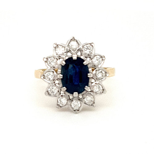 Large Sapphire & Diamond Cluster Ring 18ct Yellow & White Gold
