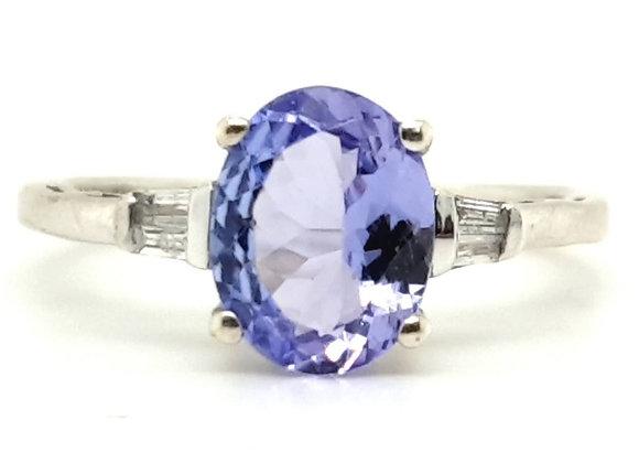 White Gold Tanzanite & Baguette Diamond Trilogy Ring