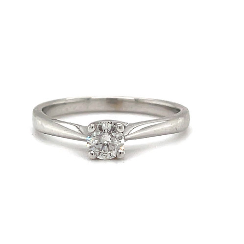 Modern Diamond Solitaire Engagement Ring 18ct White Gold