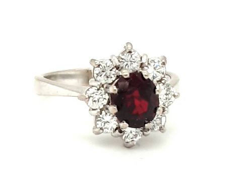 18ct White Gold Pigeon Blood Ruby and Diamond Cluster Ring