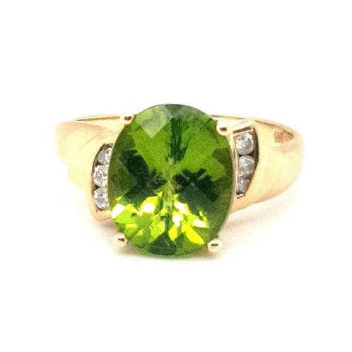 Chequer Board Cut Peridot and Diamond Ring