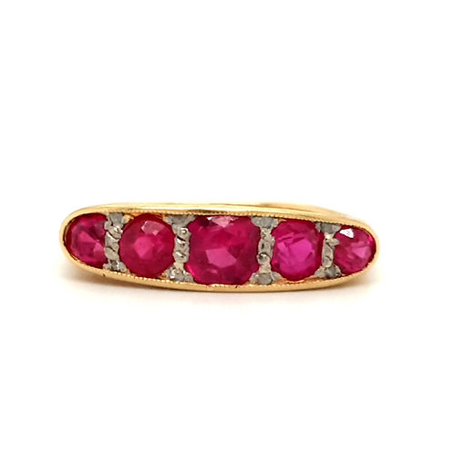 Edwardian Spinel and Diamond Ring 18ct Yellow Gold