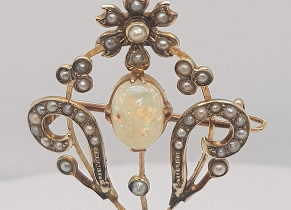 Vintage Opal and Pearl Pendant Brooch 9ct