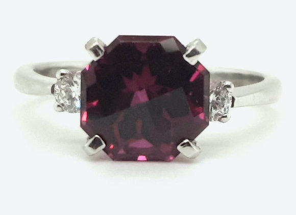 18ct White Gold Chequer Board Cut Purple Garnet & Diamond Ring