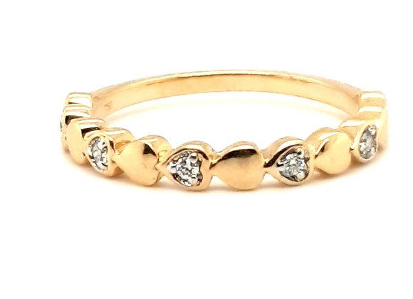 Fancy Heart Shape Diamond Band 18ct Yellow Gold