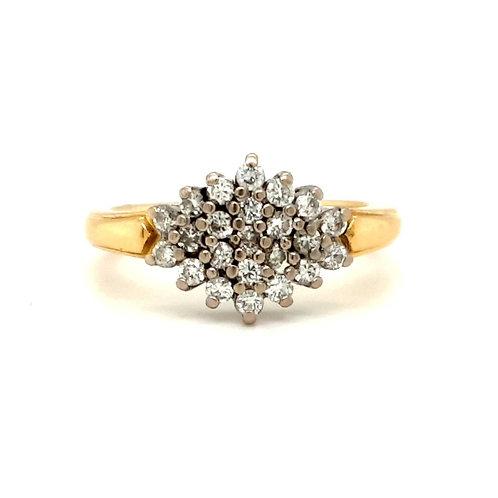 Boat Shape Diamond Cluster 18ct Gold
