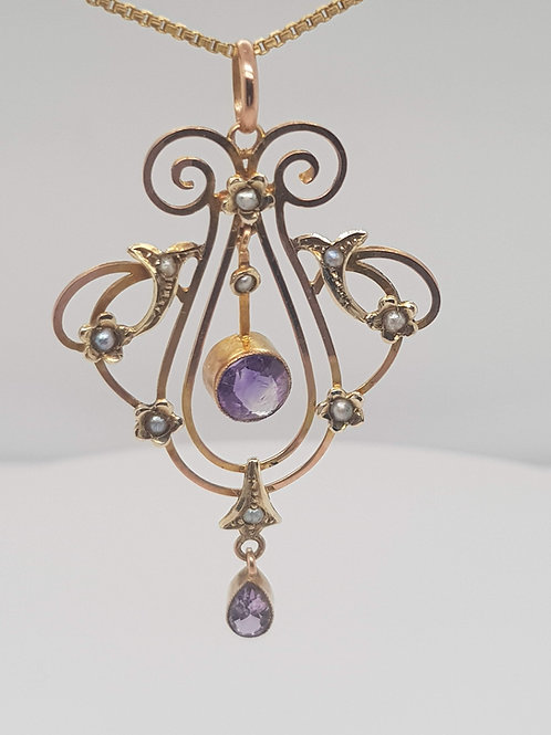 Amethyst & Pearl Lavalier 9ct Gold
