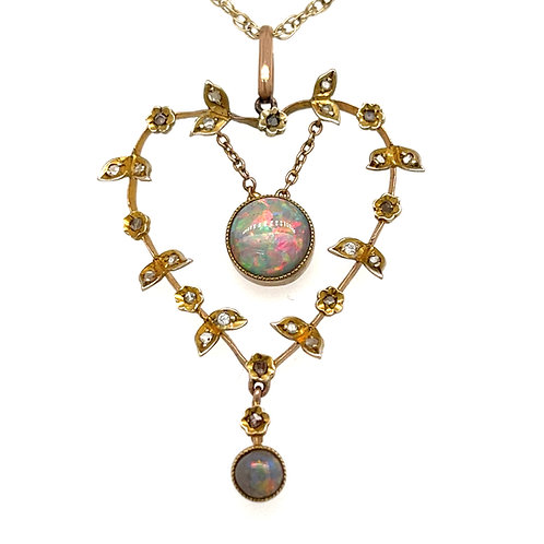 Vintage Opal and Diamond Lavalier  Necklace 9ct Yellow Gold