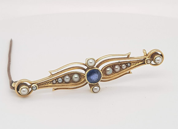 Sapphire & Pearl 15ct Gold Brooch