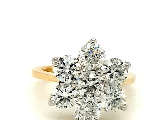 Large 3.84 ct  Diamond Cluster Ring 18ct Gold