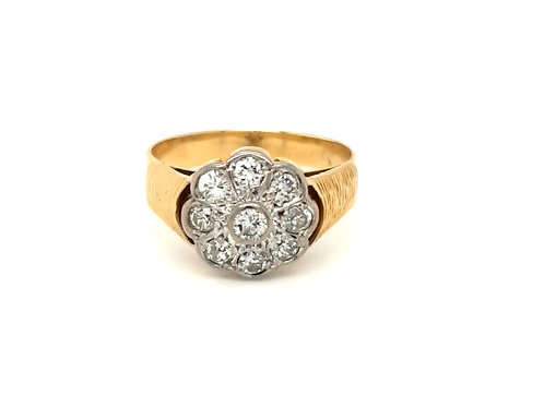 Vintage Diamond Nine Stone Cluster Ring 18ct Gold