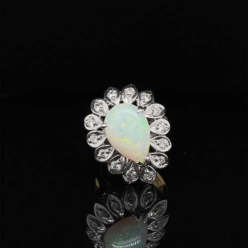 Opal and Diamond Cluster 18ct Yellow Gold