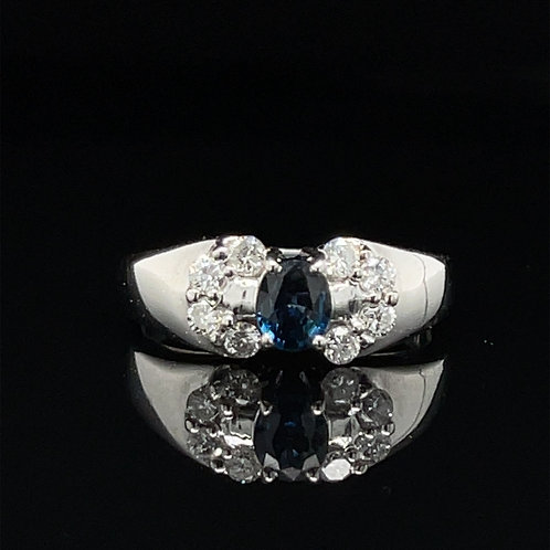 Fancy Sapphire and Diamond Ring 18ct White Gold