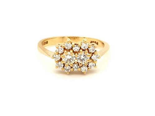 Double Diamond Cluster Ring 18ct Gold
